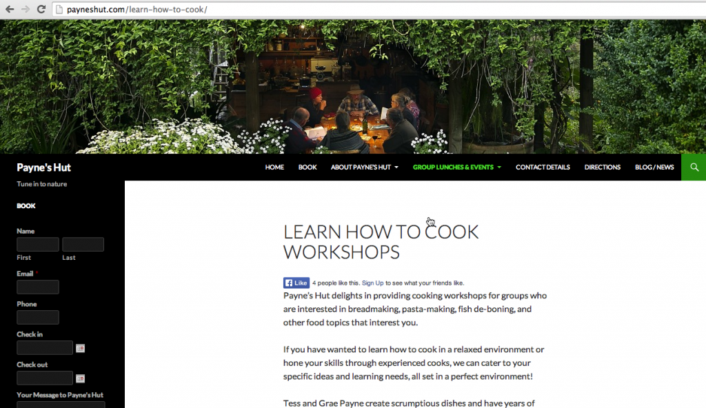 Paynes Hut new website remote workshops