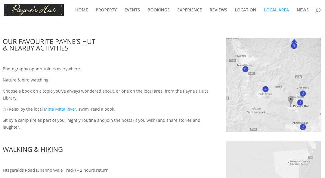 New Payne's Hut website